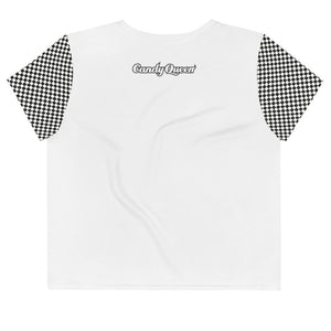 Candy Queen Print Crop Tee with Check Sleeves