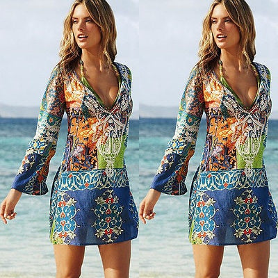 Sexy Swimsuit Cover Up Chiffon Flower Beach