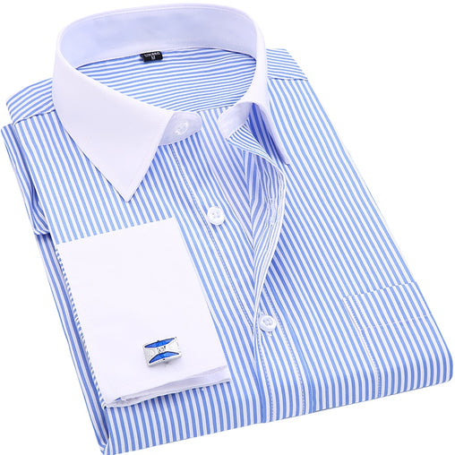 High Quality French Casual Long Sleeved Shirts White Collar