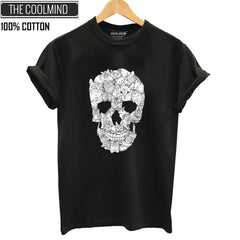 100% Cotton Skull Print Women T-Shirt