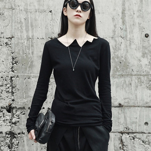 Long Sleeve Asymmetrical Collar