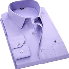 Men Shirt Classic Color Long Sleeved whit Pocket