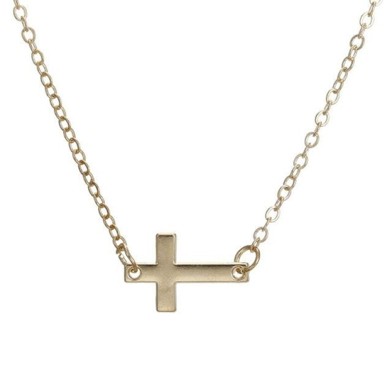 Sideways Cross Pendant Necklace