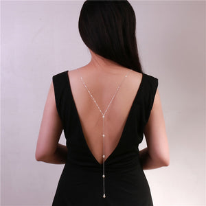 Simple Pearl Back Necklace