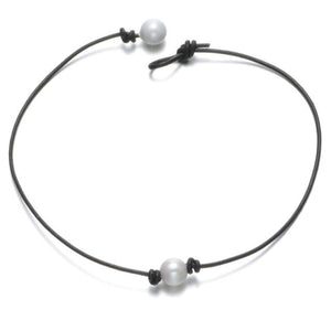 Leather and Pearl Choker Necklace