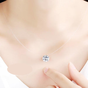 Cubic Zirconia Pendant with Invisible Chain Necklace