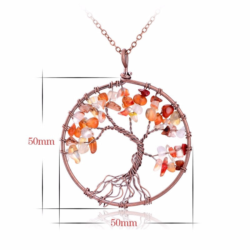 Tree Of Life Quartz Stone Pendant Necklace
