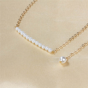 Beaded Back Pearl Necklace