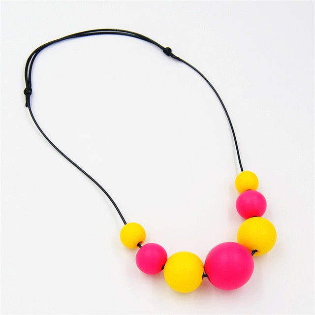 Colorful Wooden Necklace (Multiple Color Options)