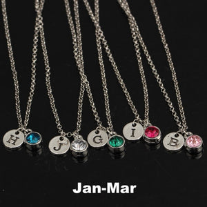 Custom A-Z Initial + Birthstone Necklace (January-March)