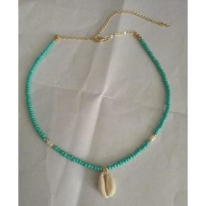 Natural Stone and Shell Pendant with Beaded Chain