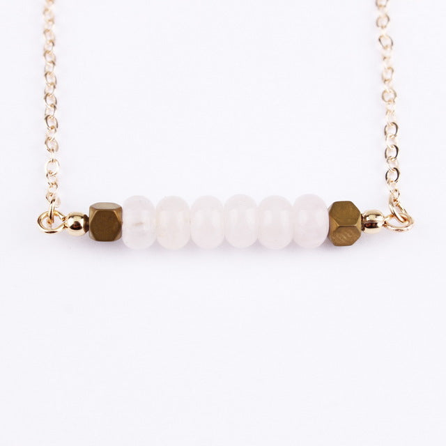 Round Stone Bar Necklace (Multiple Colors)