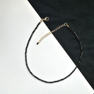 Black Bead Choker Necklace