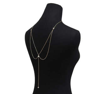 Crystal Pendant Back Necklace