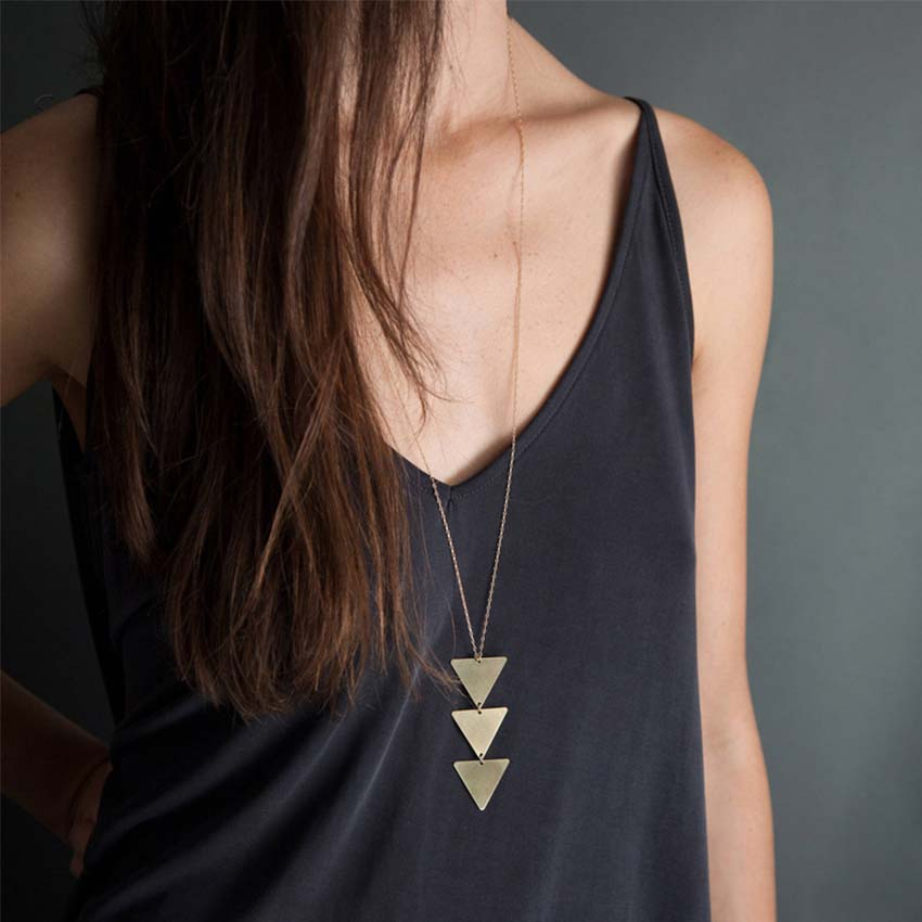 Long Chain Triangle Necklace