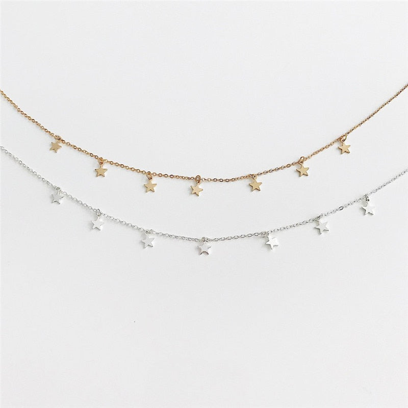 Multi-Star Pendant Choker Necklace
