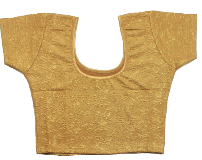 Stretchable Jacquard Short Sleeve Blouse - Gold Color Size 34/36
