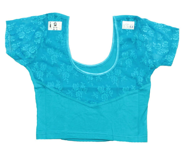 Stretchable Short Sleeve Blouse - Blue Color Size 34/36