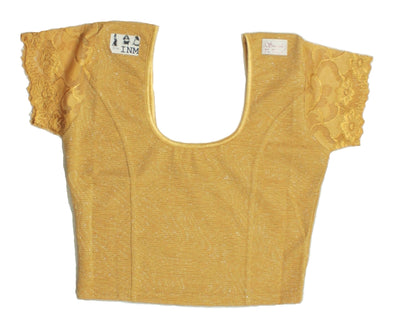 Stretchable Short Sleeve Shimmer Fabric  Blouse Gold Color Size 34/36
