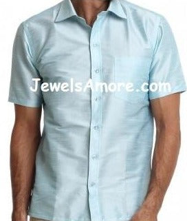 Half Sleeve Dupion Silk Shirt for Men, Light Blue