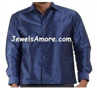 Full Sleeve, Blue Dupion Silk Shirt for Men