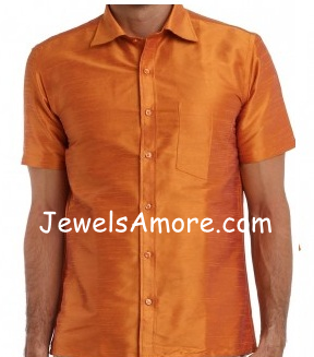 Half Sleeve Orange Dupioni Silk Shirt for Men