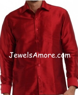 Dupioni Silk Shirt for Men Red Full Sleeve