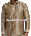 Gray Dupioni Silk Shirt for Men Full Sleeve