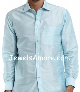 Dupioni Silk Shirt for Men Light Blue Full Sleeve