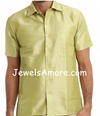 Dupioni Silk Shirt for Men Light Green Half Sleeve