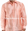 Dupioni Silk Shirt for Men Light Pink Full Sleeve