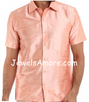 Dupioni Silk Shirt for Men Light Pink Half Sleeve