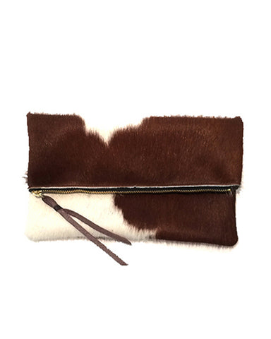 anastasia clutch in brown natural hair calf
