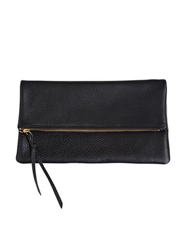 anastasia clutch in black pebbled cow leather