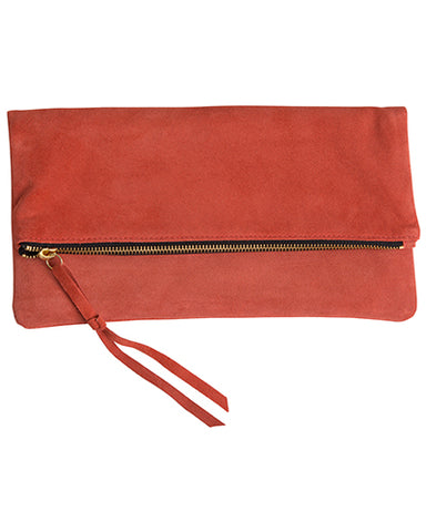 anastasia clutch in coral cow suede