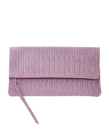 anastasia clutch in lilac woven cow leather