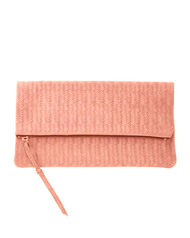 anastasia clutch in pink woven cow leather