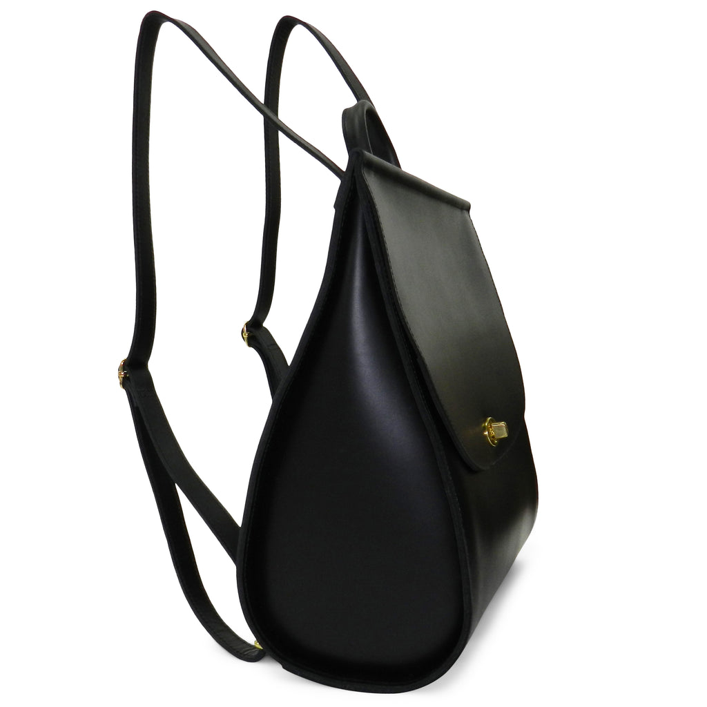 Amelia Backpack in Black Oil Tanned Cowhide Leather