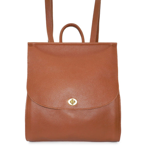 Amelia Backpack in Cognac Pebble Cowhide Leather