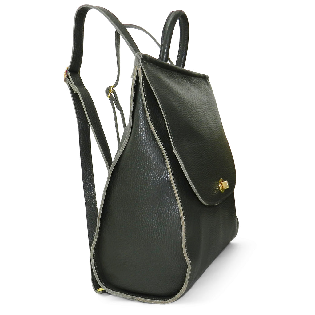Amelia Backpack in Forest Pebble Cowhide Leather