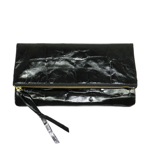 Anastasia Clutch in Black Grande Croco Leather