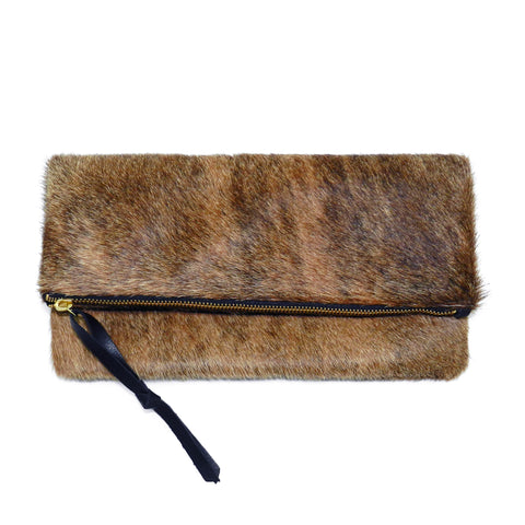 Anastasia Clutch in Brindle Haircalf