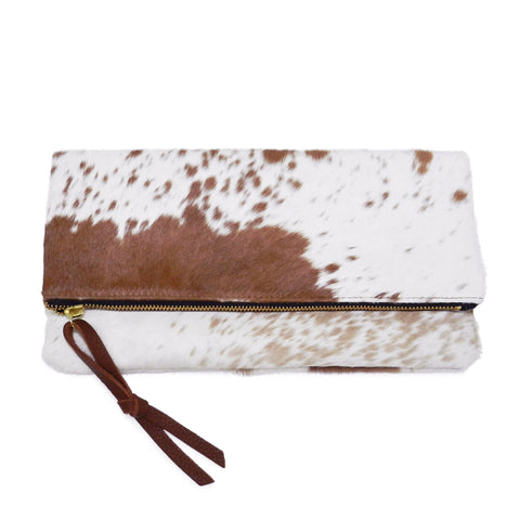 Anastasia Clutch in Brown & White Natural Haircalf- email for restock!