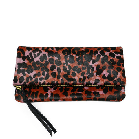 anastasia clutch in pink multi leopard hair