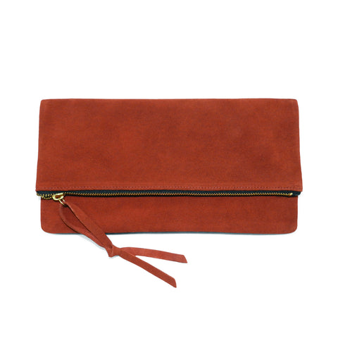 Anastasia Clutch in Rust Cowsuede Leather