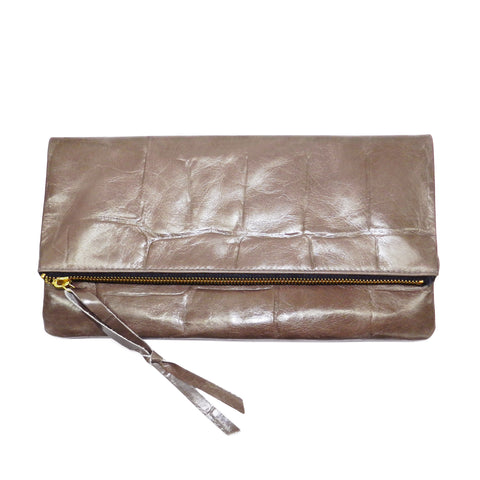 Anastasia Clutch in Taupe Grande Croco Leather