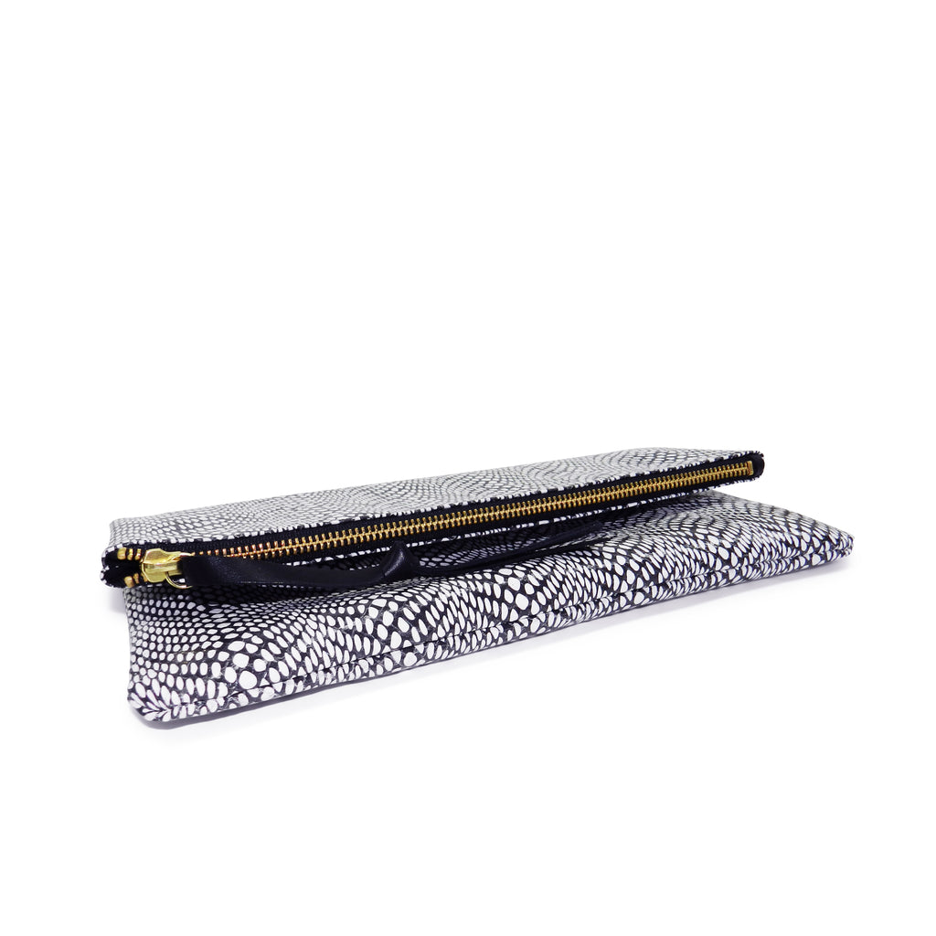 Anastasia Clutch in Black & White Watersnake