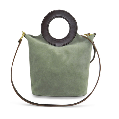 Aria Bucket in Sage Cowsuede