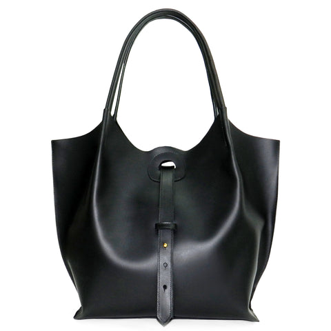 Ava Tote in Black Oil Tanned Cowhide Leather