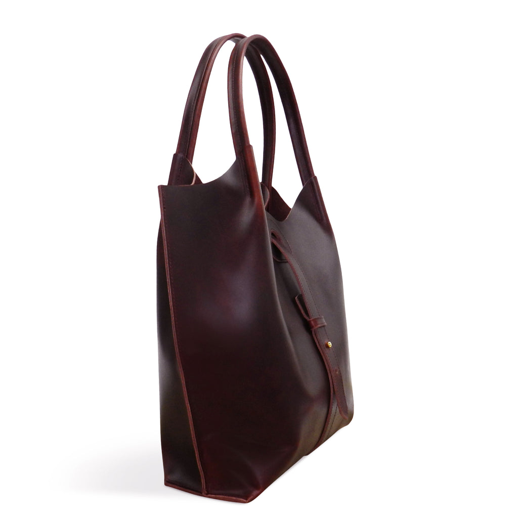 Ava Tote in Vino Oil Tanned Cowhide Leather